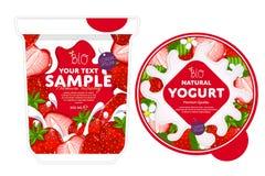 Strawberry Yogurt Packaging Design Template. Royalty Free Stock Photography