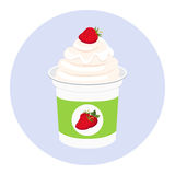Strawberry yogurt in plastic cup. Milk cream product. Flat style. Strawberry yogurt in plastic cup. Milk cream product in flat vector style Stock Photography