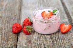 Strawberry yogurt and ripe strawberry Stock Photo