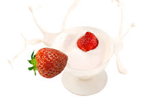 Strawberry yogurt splash. Royalty Free Stock Image