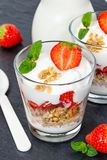 Strawberry yogurt yoghurt strawberries fruits cup muesli portrai Stock Photos