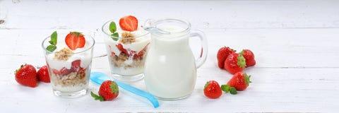 Strawberry yogurt yoghurt strawberries fruits cup muesli spoon b Royalty Free Stock Photography
