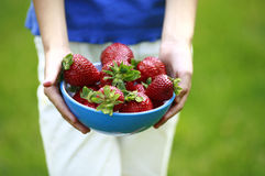 Strawberry for you. A colorful bowl of strawberries being presented royalty free stock photos