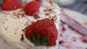 Strawberrycake feito a mão delicioso foto de stock