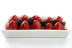 Strawberryes dessert. At studio white background royalty free stock photography