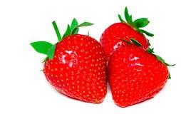 Strawberrys在白色背景隔绝了 裁减路线 库存照片