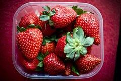 Strawberrys i korg Arkivfoto