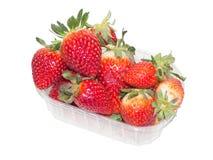Strawberrys i plast- ask på vit bakgrund Royaltyfria Foton