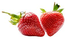 Strawberrys isolou-se em um fundo branco fotos de stock royalty free