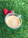 strawberrys med koppen kaffe på gräset Royaltyfri Fotografi