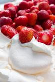 Strawberrys in meringue. Making a cake, strawberrys in meringue Stock Photography