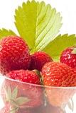Strawberrys no vidro Imagens de Stock