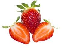 Strawberrys rossi freschi su fondo bianco Fotografia Stock Libera da Diritti