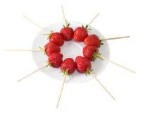 Strawberrys sur un bâton Image libre de droits