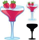 Strawbery Daiquiri. Strawberry daiquiri alcoholic beverage concept illustration. EPS10 file. Great for stand alone or icon use Stock Images