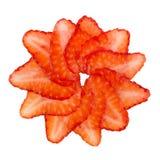 Strawbery slices arranged, isolated on white Stock Photography