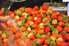 Strawbery with sugar. Organic fresh red strawberies Stock Photo