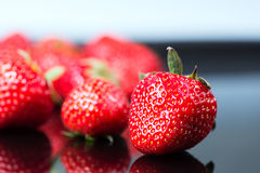 Strawbwrries on black close up Royalty Free Stock Photography