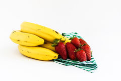 Strawerryes和香蕉 库存图片