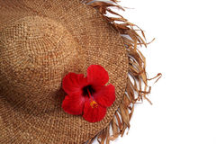 StrawHat and Flower. Isolated Straw hat and tropical flower royalty free stock photo
