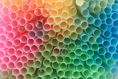 Straws background in rainbow colors Stock Photo