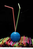 Straws on black background Royalty Free Stock Photography