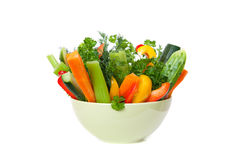 Straws of fresh vegetables in a bowl Stock Photography