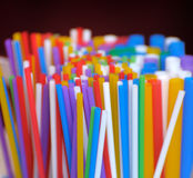 Straws. Funny colored straws for beverages stock photography