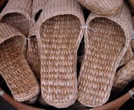 Straws slippers Stock Photo