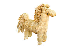 Strawy horse. Homemade  figurine strawy horse isolated on white background Stock Photography