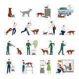 Stray Animals Icons Set. Behavior of animals in society catching treatment in a veterinary clinic and finding them shelter protection  illustration Stock Images