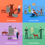 Stray Animals Icons Set. Conduct outside their habits shelter and control service vector illustration Stock Photography
