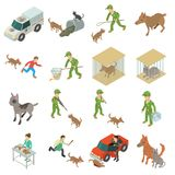 Stray animals icons set, isometric style. Stray animals icons set. Isometric illustration of 16 stray animals vector icons for web Royalty Free Stock Images