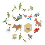 Stray animals icons set, isometric style. Stray animals icons set. Isometric illustration of 16 stray animals vector icons for web Royalty Free Stock Photos
