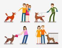 Stray dog or abandoned . Set of cartoon icons vector illustration Stock Photography