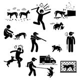 Stray Dog Problem Issue Clipart. A set of human pictogram representing stray dog problem and how human tackle with it. These pictograms show hungry dogs finding Stock Images