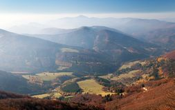 Strazovske vrchy with blue horizons, Carpathian mountains. Autumnal view from mount Klak to Strazovske vrchy with blue horizons, Carpathian mountains, Slovakia Royalty Free Stock Photo