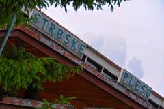Strbské pleso sign at train station. Mountain Railway station detail in High Tatras, Slovakia royalty free stock photo