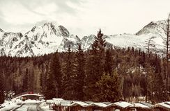 Strbske pleso area, center of winter sports, old filter Royalty Free Stock Photos