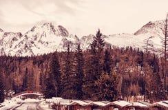 Strbske pleso area, center of winter sports, Slovakia, red filte Royalty Free Stock Photo