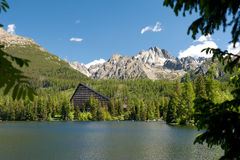 Strbske Pleso In High Tatras In Summer Witg Trees In The Front. High Tatras Mountains. Vysoke Tatry. Slovakia. Royalty Free Stock Photography