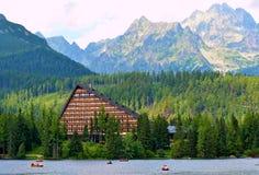 Strbske pleso lake in High Tatras in Slavakia. High Tatras panorama view on Strbske pleso with Patria hotel royalty free stock photo