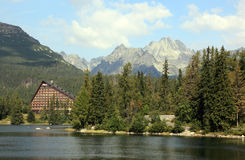 Strbske Pleso lake, Slovakia. This lake is beautifully situated in the High Tatra mountains of Slovakia Royalty Free Stock Images