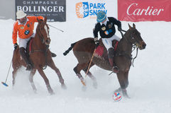 STRBSKE PLESO, SLOVAKIA - FEBRUARY 7: Polo on snow stock photo