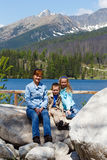 Strbske Pleso (Slovakia) spring view and family Royalty Free Stock Photo