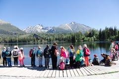 Strbske Pleso, Slovakia, 7th. May, 2018 : Children on school trip stock photo
