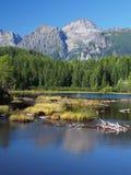 Strbske Pleso in Slowaakse Hoge Tatras bij de zomer Royalty-vrije Stock Foto's
