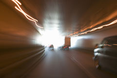 Streaked lights while driving through Lincoln Tunnel in New York City to New Jersey Royalty Free Stock Photos