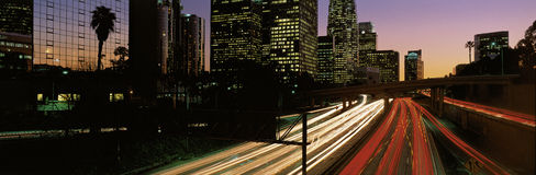 Streaked lights on Harbor Freeway, Los Angeles, CA Stock Photo