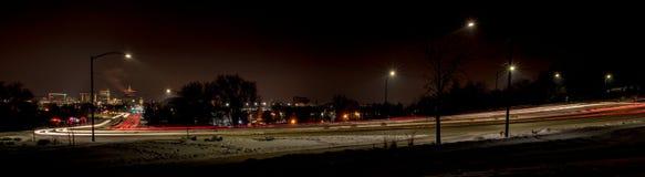 Streaking car lights at night Boise Idaho Royalty Free Stock Photography